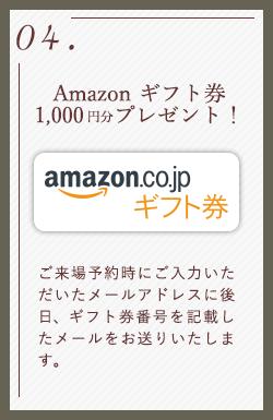 04.Amazon ギフト券1,000円分プレゼント! ご来場予約時にご入力いただいたメールアドレスに後日、ギフト券番号を記載したメールをお送りいたします。
